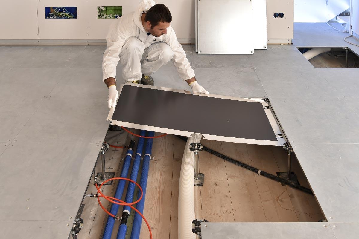 impianto radiante a pavimento sopraelevato